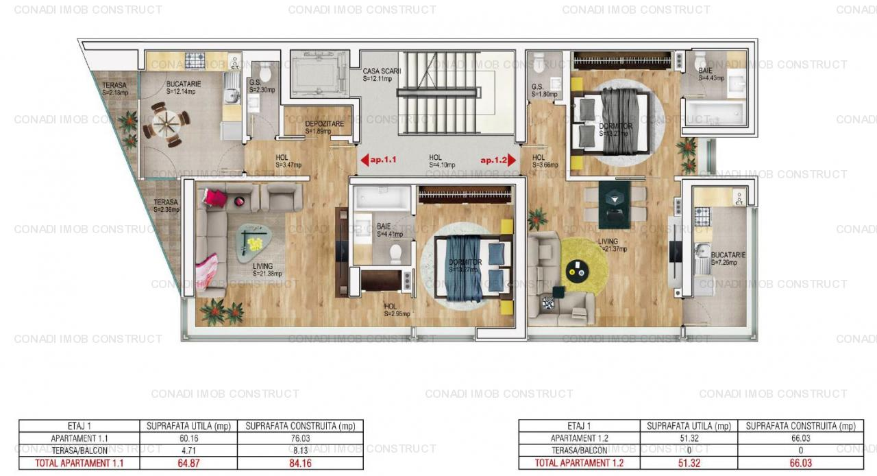 Baneasa Lac - apartamente 2 si 3 camere, la alb